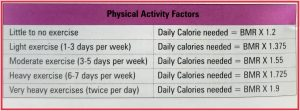 Calculation of your daily energy requirement based on your activity and BMR